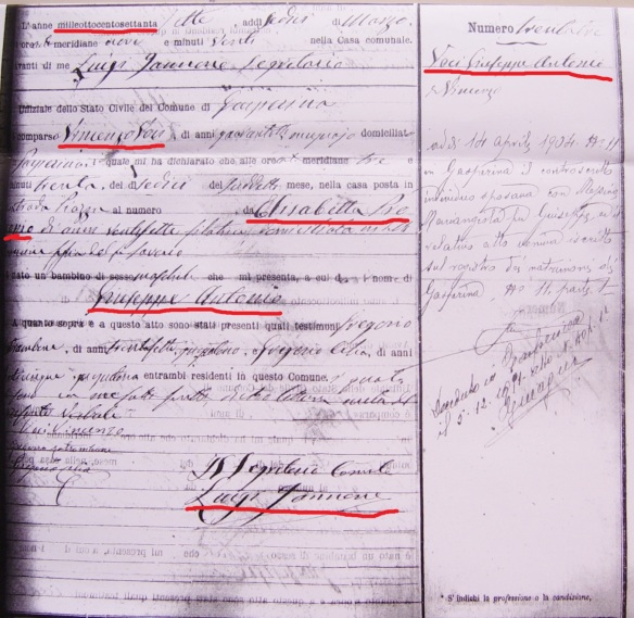 01.26.2015 Giuseppe Antonio Voci Birth Certificates for Website with Marks
